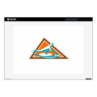 "Curling Player Sliding Stone Triangle Icon 15"" Laptop Skins"