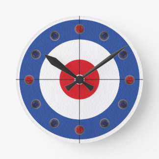 Curling Rock Marker Clock- (Blue) Round Clock