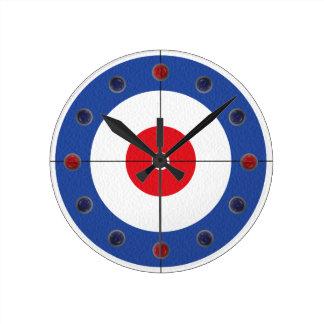 Curling Rock Marker Clock- (Blue) Round Clock