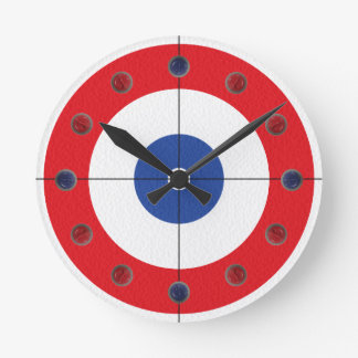 Curling Rock Marker Clock- (Red) Round Clock
