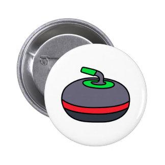 Curling Rock Pinback Button