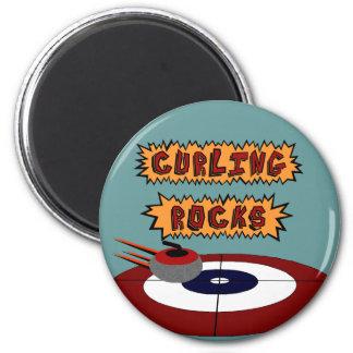 Curling Rocks 2 Inch Round Magnet