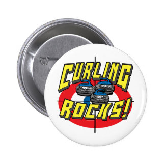 Curling Rocks Blue Stones t-shirts and Gift Ideas Pinback Button