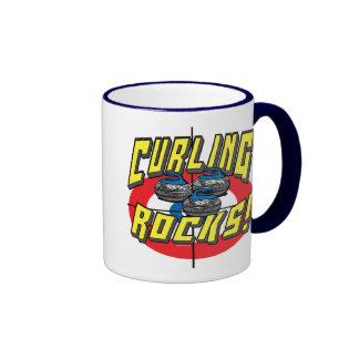 Curling Rocks Blue Stones t-shirts and Gift Ideas Ringer Coffee Mug