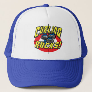 Curling Rocks Blue Stones t-shirts and Gift Ideas Trucker Hat