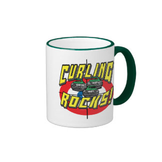 Curling Rocks Green Stones t-shirts and Gift Ideas Ringer Coffee Mug