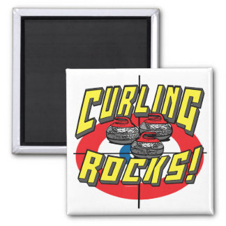Curling Rocks Red Stones t-shirts and Gift Ideas 2 Inch Square Magnet