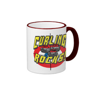 Curling Rocks Red Stones t-shirts and Gift Ideas Ringer Mug