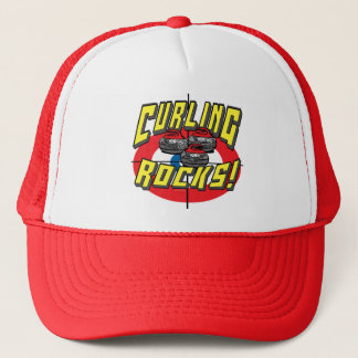 Curling Rocks Red Stones t-shirts and Gift Ideas Trucker Hat