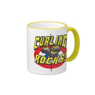 Curling Rocks Yellow Stones t-shirts Gift Ideas Ringer Coffee Mug