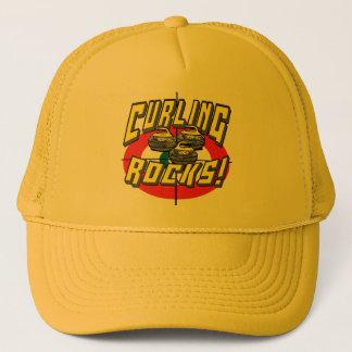 Curling Rocks Yellow Stones t-shirts Gift Ideas Trucker Hat