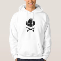 Curling Skull (front, white) Hoodie