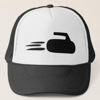 curling stone icon trucker hat