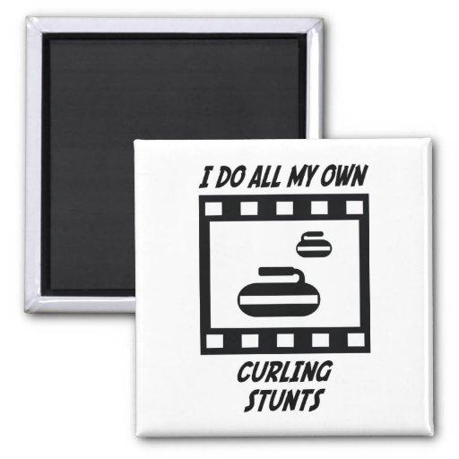 Curling Stunts 2 Inch Square Magnet