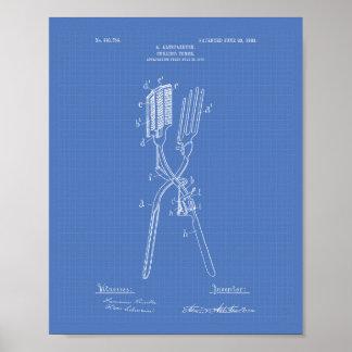Curling Tongs 1908 Patent Art Blueprint Poster