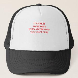 curling trucker hat