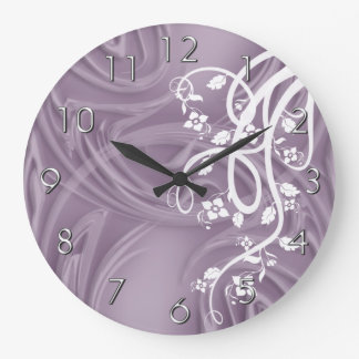 Curls Over Purple With Filigree & Floral Large Clock