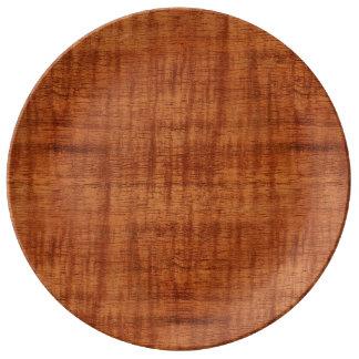 Curly Acacia Wood Grain Look Dinner Plate