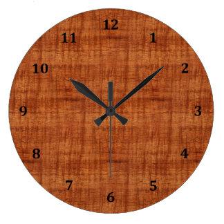 Curly Acacia Wood Grain Look Large Clock