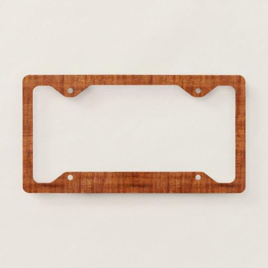 Curly Acacia Wood Grain Look License Plate Frame Zazzle Com