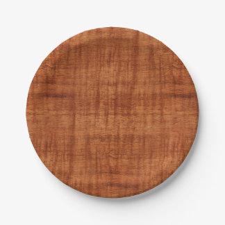 Curly Acacia Wood Grain Look Paper Plate