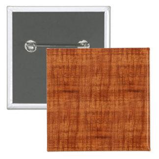 Curly Acacia Wood Grain Look Pinback Button