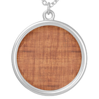 Curly Acacia Wood Grain Look Silver Plated Necklace