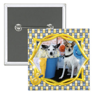 Curly and Archimedes - Rat Terriers Pinback Buttons