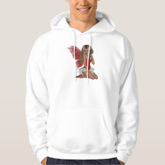 Curly Blond 3D Fairy in Pink Hooded Pullover
