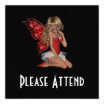 """Curly Blond 3D Fairy in Pink 5.25"""" Square Invitation Card"""