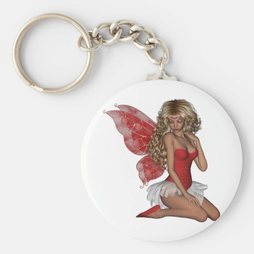 Curly Blond 3D Fairy in Pink Key Chains