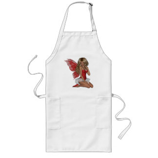 Curly Blond 3D Fairy in Pink Long Apron
