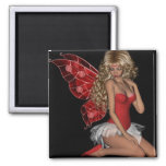 Curly Blond 3D Fairy in Pink Magnet