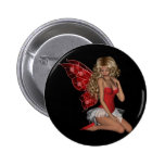 Curly Blond 3D Fairy in Pink Pinback Buttons