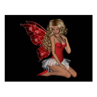 Curly Blond 3D Fairy in Pink Postcard