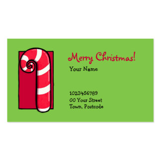 Curly Candy Cane green Business Card