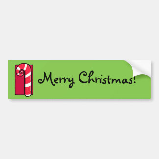 Curly Candy Cane green Christmas Bumper Sticker