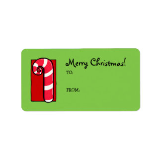 Curly Candy Cane green Gift Tag Label