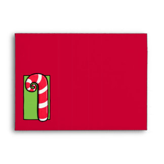 Curly Candy Cane red Card Envelope