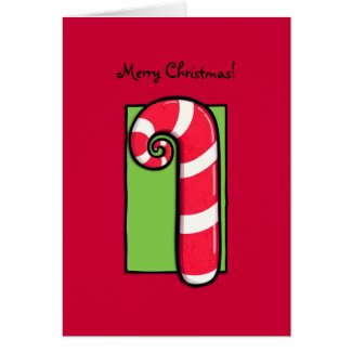 Curly Candy Cane red Christmas Card card