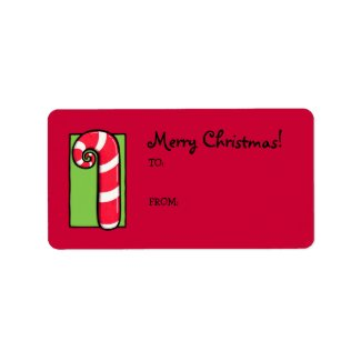 Curly Candy Cane red Gift Tag Label label