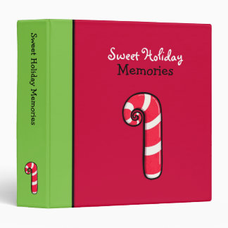 Curly Candy Cane red Holiday Binder