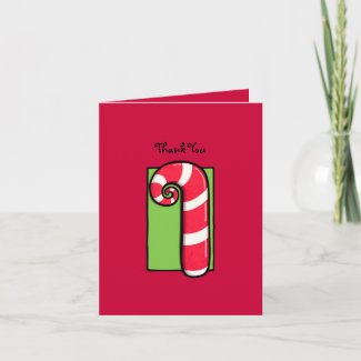 Curly Candy Cane red Thank You Note Card card