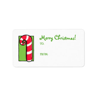 Curly Candy Cane white green Gift Tag Label