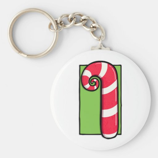 Curly Candy Cane white green Keychain