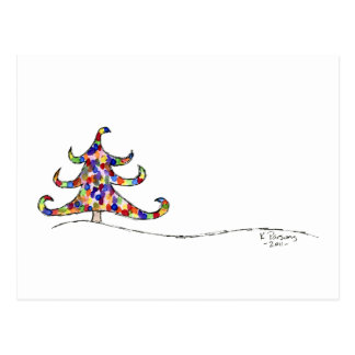 Curly Christmas Tree Postcard