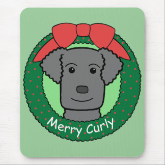 Curly-Coated Retriever Christmas Mouse Pad