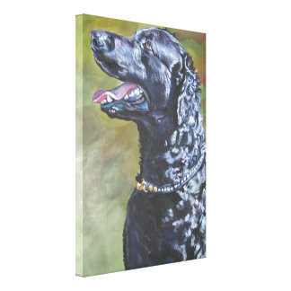 Curly- Coated Retriever Painting on Wrapped Canvas Canvas Print