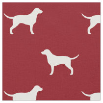 Curly Coated Retriever Silhouettes Pattern Red Fabric