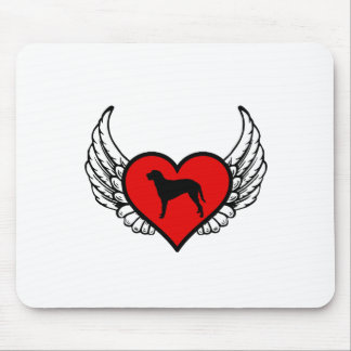Curly Coated Retriever Winged Heart Love Dogs Mouse Pad